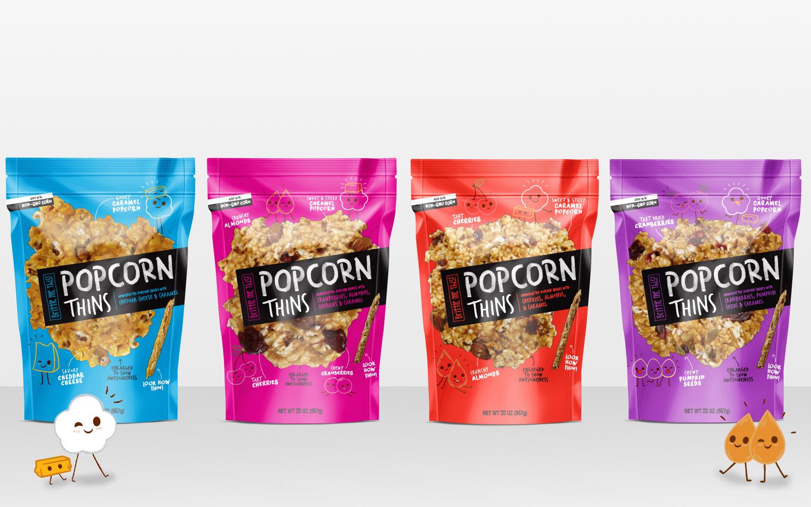 popcorn thins branding  u0026 packaging