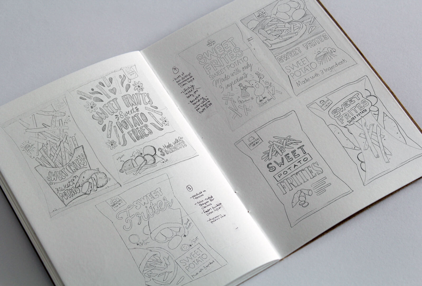 Sketches for new natural snack food packaging