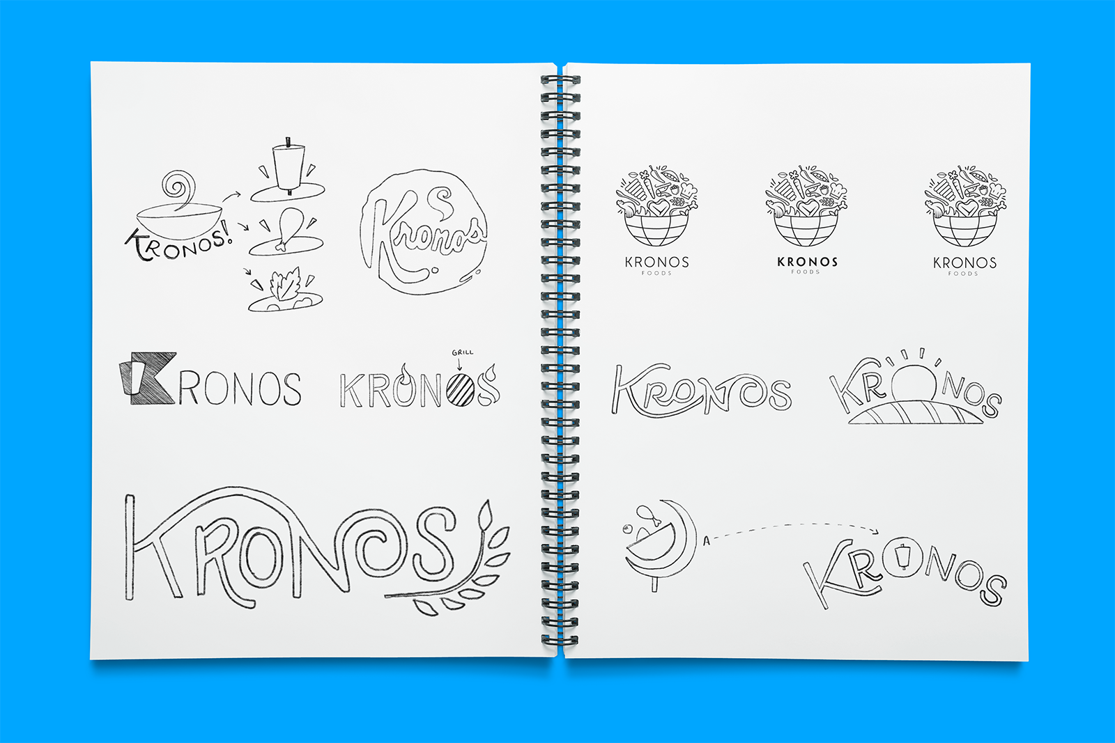 Sketches and ideas for the Kronos logo brand refresh