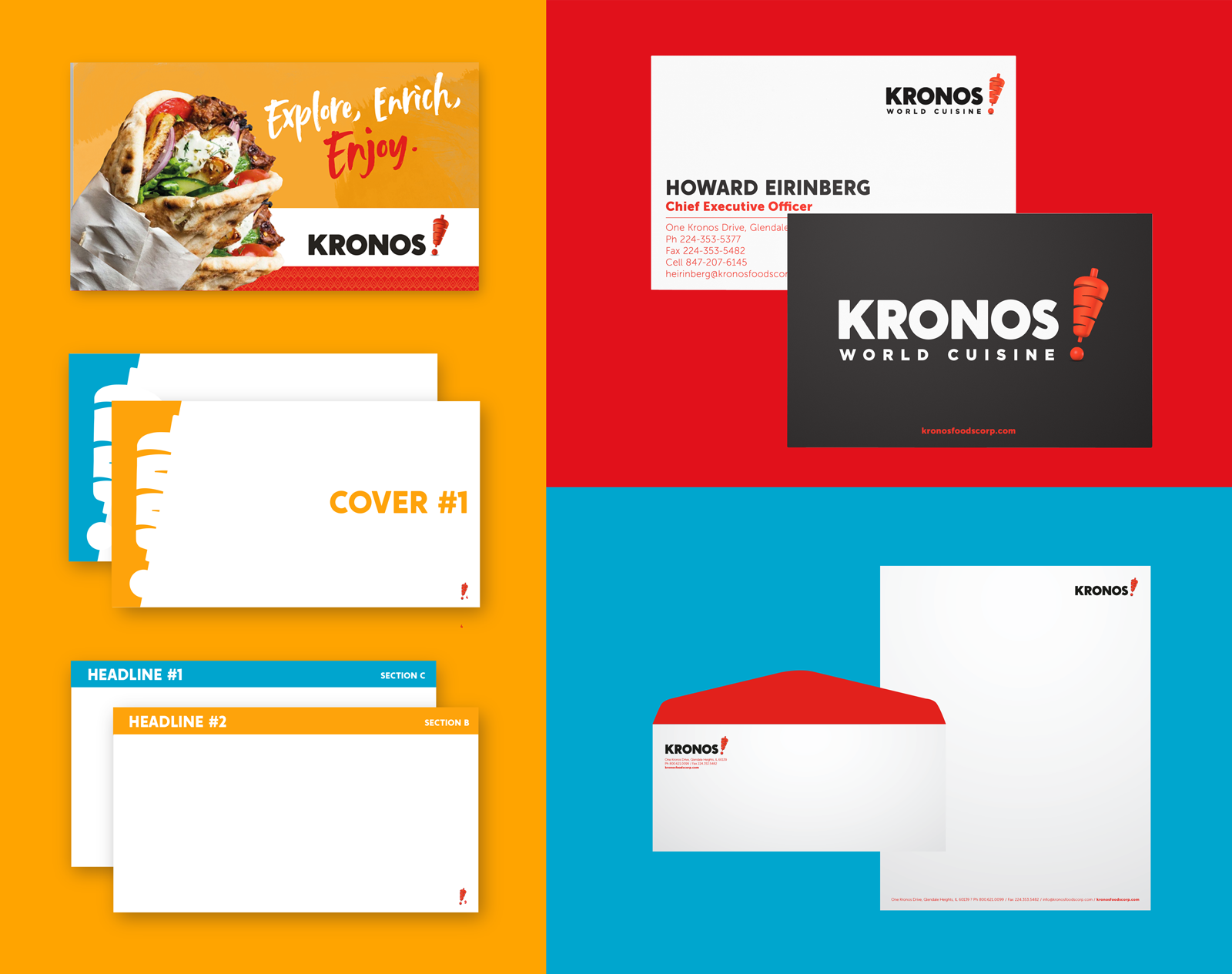 Kronos World Cuising - Brand Refresh - Presentation and Printed Elements