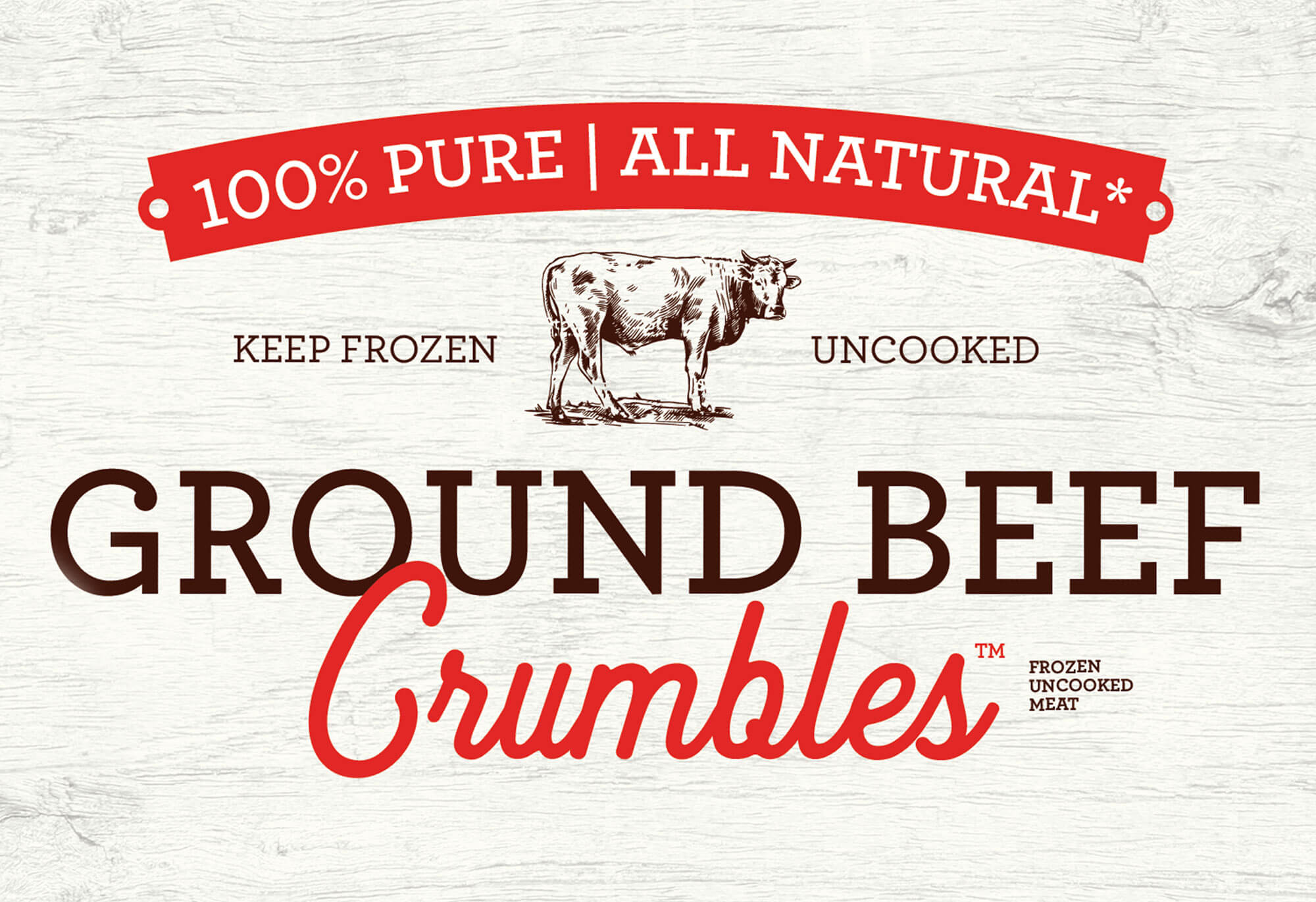 Natural textures and soft typography are strongly featured on this frozen food packaging