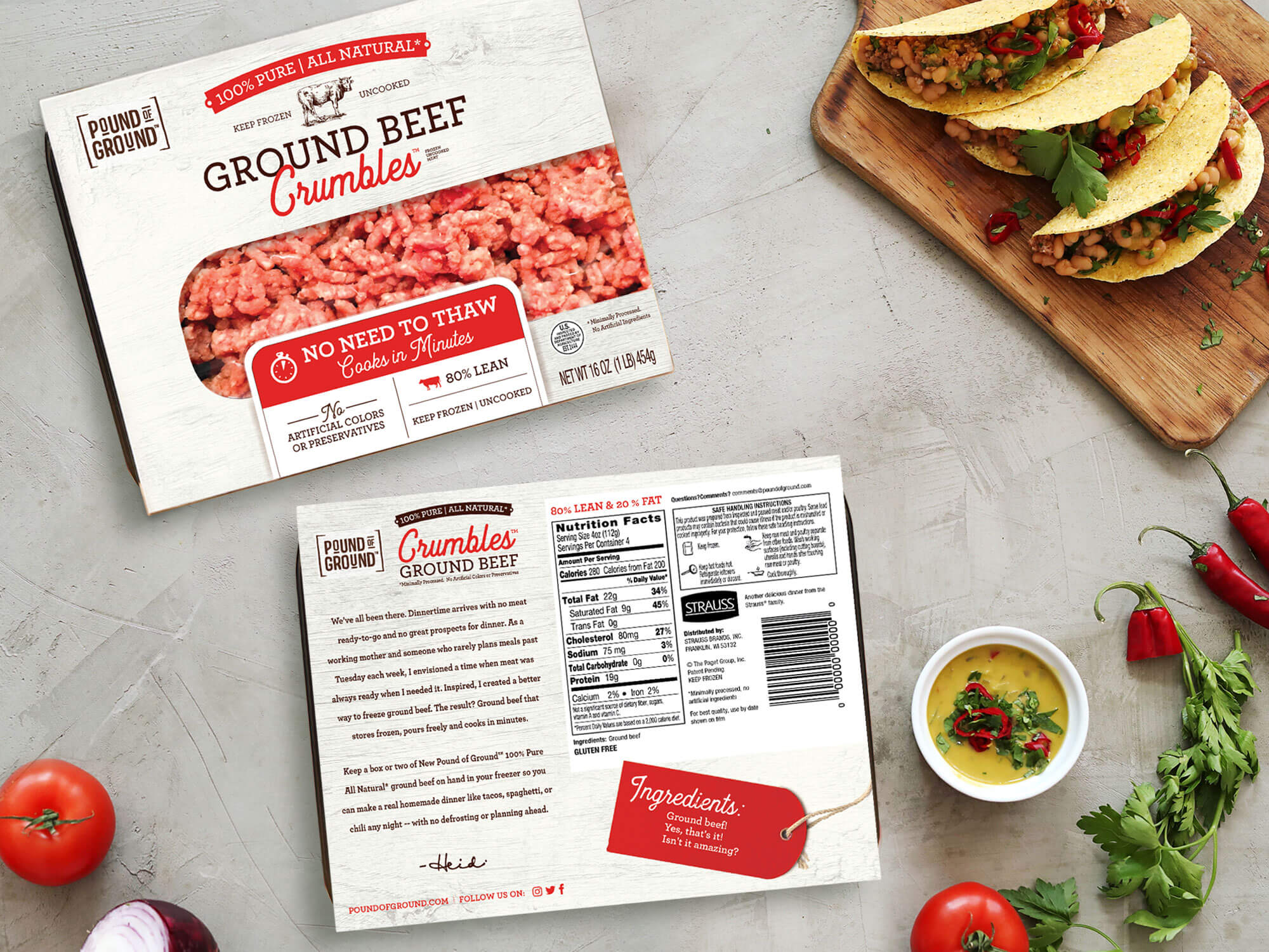 New frozen food packaging for a meat company