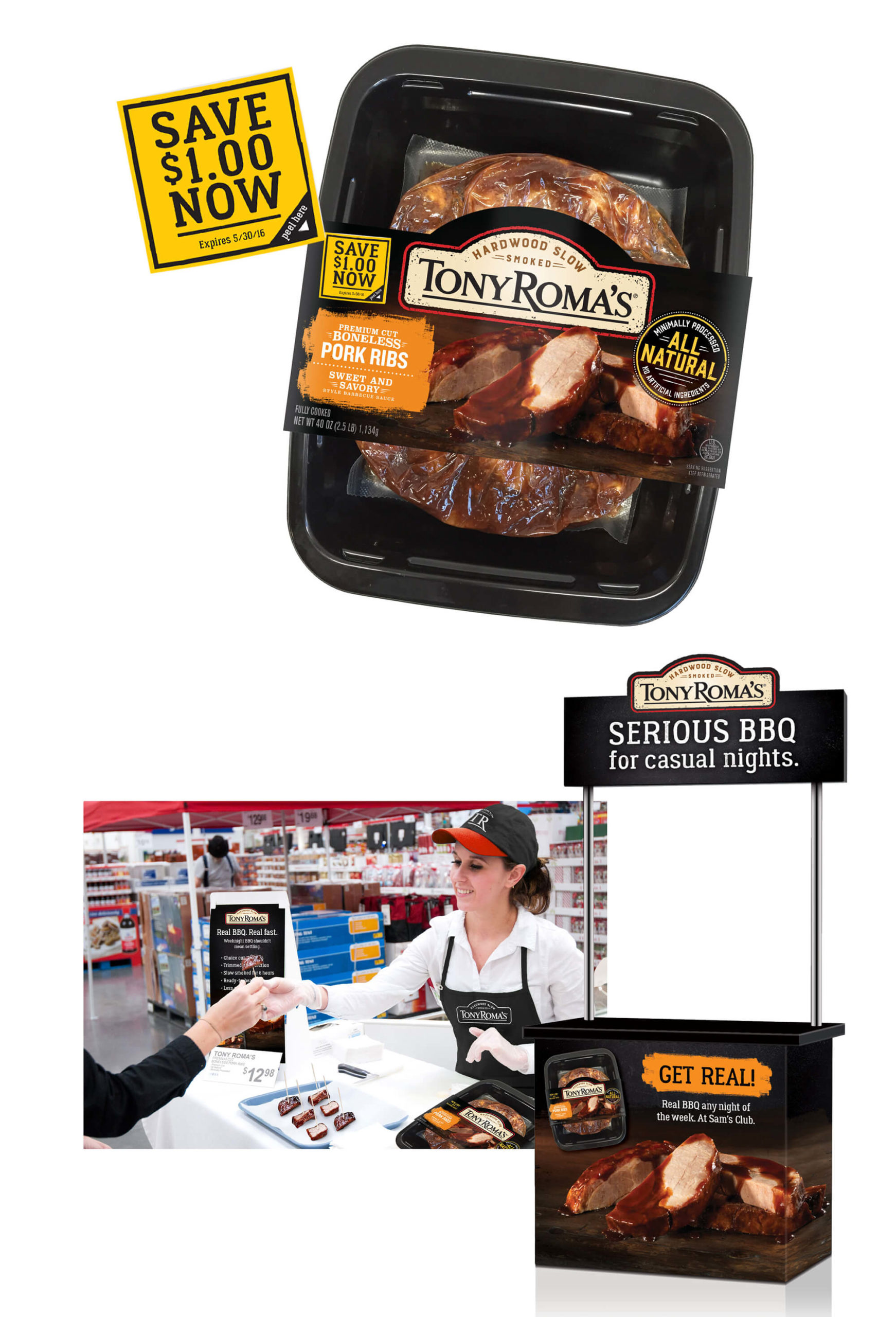 The Tony Roma's marketing campaign included on-pack coupons to encourage trial along with sampling at stores across the country.