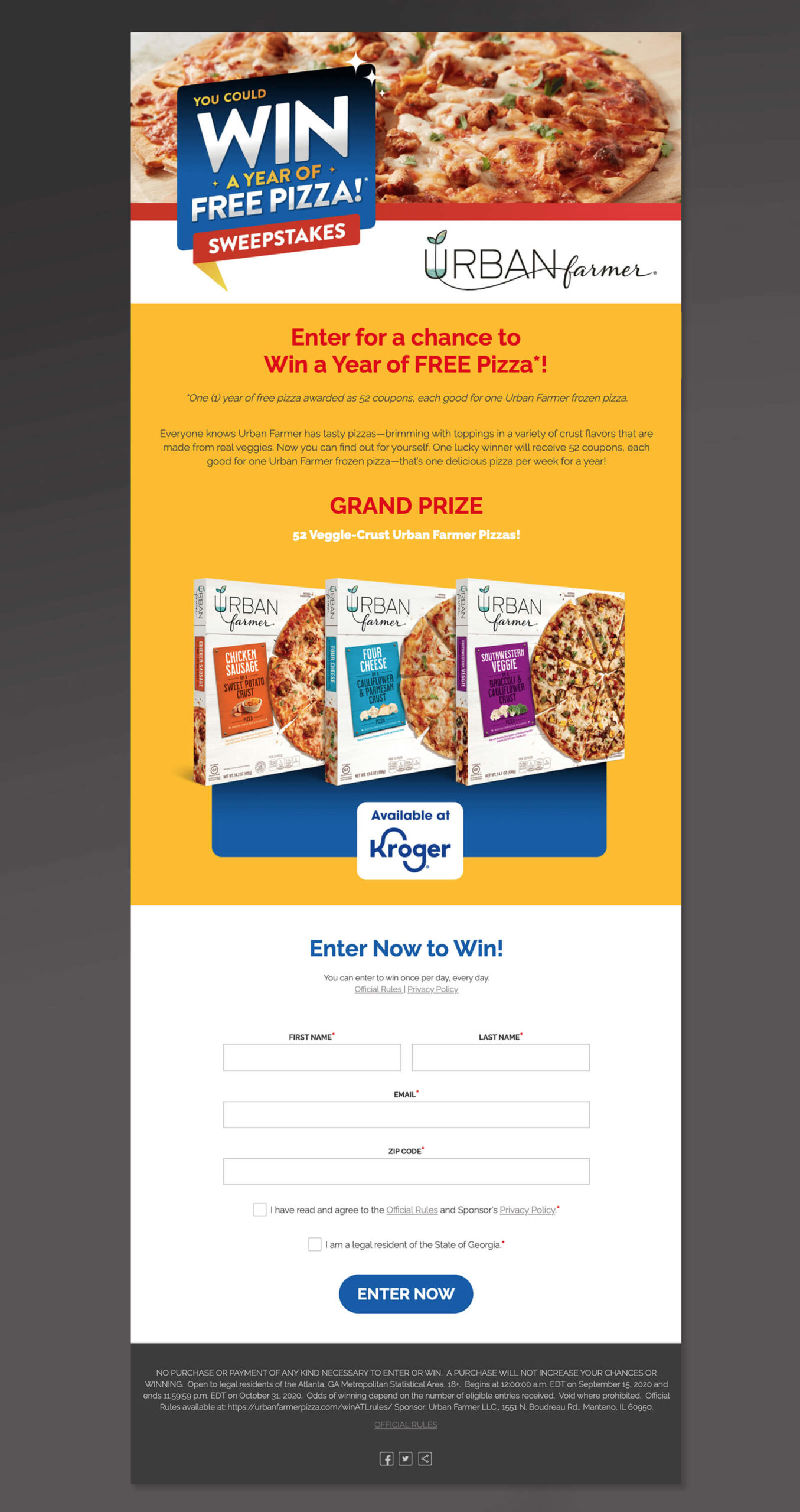 Win a year of free pizza - CPG Promotion for Frozen Pizza